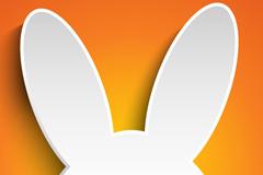 复活节剪纸兔矢量素材