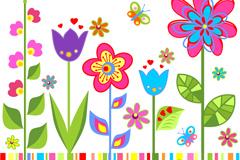 卡通花卉矢量素材