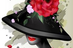 创意时尚女子头像矢量素材