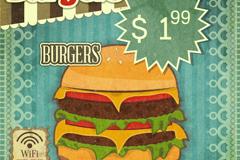 怀旧汉堡包海报矢量素材