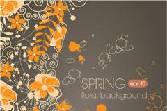 精美春季花卉装饰背景矢量素材