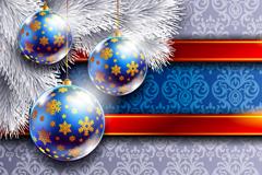 精美圣诞节吊球横幅矢量素材