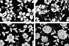 复古黑白花卉装饰背景矢量素材