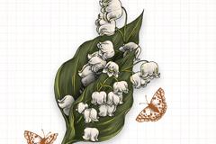 手绘铃铛花矢量素材