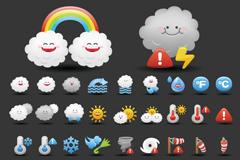 童趣气象图标矢量素材