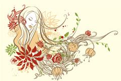 彩绘花卉美女矢量素材