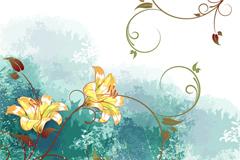 淡雅水彩花卉背景矢量素材