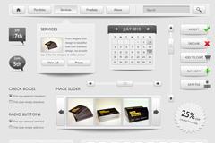 灰色网页界面元素PSDw88优德