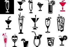 手绘饮品杯具矢量素材