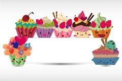 卡通甜品装饰公告板矢量素材