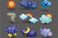 童趣卡通天气图标矢量素材
