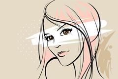 简洁女子插画矢量素材