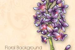 手绘紫丁香矢量素材