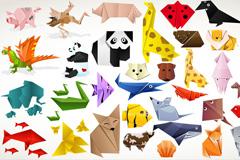 可爱动物折纸矢量素材