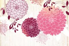 彩绘绣球花矢量素材