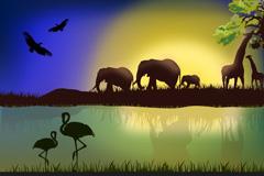 非洲野生动物景观矢量素材