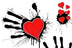 墨迹手印与红心矢量素材