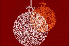 精美圣诞花纹吊球矢量素材