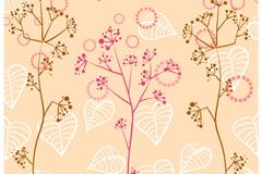 淡雅手绘植物背景矢量素材