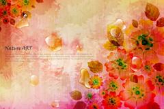 梦境花卉背景矢量素材