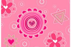 爱心花朵装饰背景矢量素材