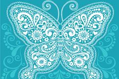 精致蓝色花纹蝴蝶矢量素材