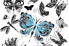 精致手绘蝴蝶矢量素材