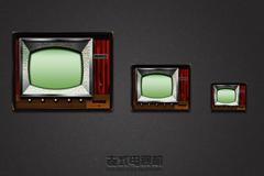老式电视机图标PSD素材