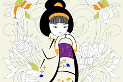 日本和服娃娃矢量素材