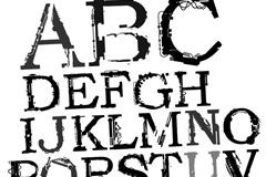 潮流墨印字母矢量素材