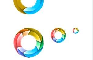 彩色圆环图标PSD素材