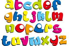 童趣卡通字母矢量素材