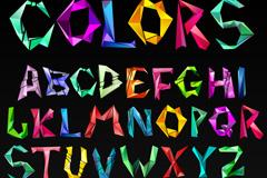 彩色折纸字母矢量素材
