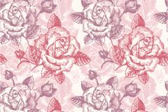 彩铅玫瑰矢量素材