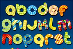 童趣布艺字母矢量素材