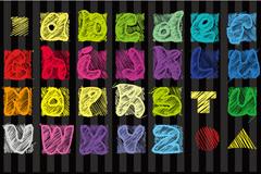 多彩手绘字母矢量素材