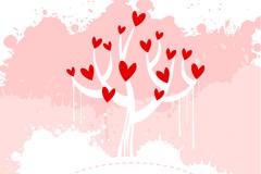 粉色爱心树矢量素材