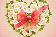 丝带装饰玫瑰花束矢量素材