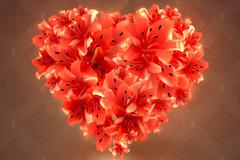 百合爱心花卉矢量素材