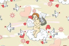 童趣天使背景矢量素材