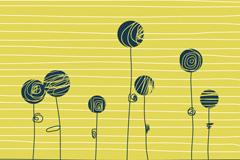 手绘抽象花卉矢量素材