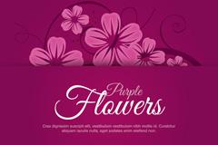 手绘紫色花卉矢量素材