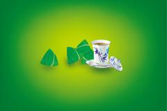 清茶粽子矢量素材