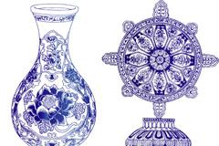 精致青花瓷器矢量素材