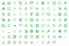 150个绿色像素图标素材