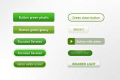 绿色类型按钮PSD素材