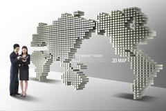 3D立体世界地图PSD素材