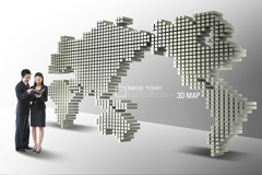 3D立�w世界地�DPSD素材