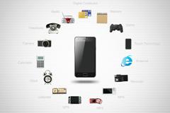 手机与相关图标PSD素材
