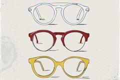时尚手绘眼镜框矢量素材